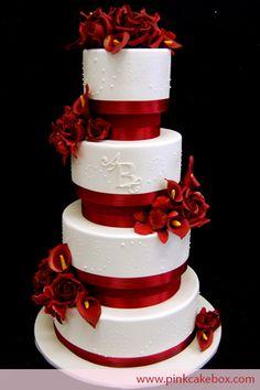 Monogrammed Red Flower Wedding Cake