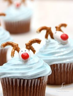 CHOCOLATE Reindeer Cupcakes. Decorated with Jordan almonds, small cinnamon candies and pretzel antlers, these cupcakes are almost too cute to eat. Almost. http://thecupcakedailyblog.com/chocolate-reindeer-cupcakes/    #chocolate #reindeer #cupcakes #recipe #baking #christmas