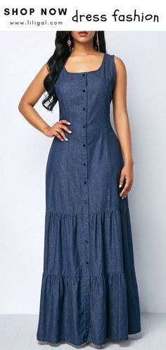 Sleeveless Button Front Denim Maxi Dress Sleeveless Button Front Denim Blue Maxi…, You can collect images you discovered organize them, add your own ideas to your collections and share with other people. Denim Maxi Dress, Boho Dress, Dress Skirt, Denim Dresses, Jeans Dress, Dress Shoes, Shoes Heels, Short Beach Dresses, Summer Dresses