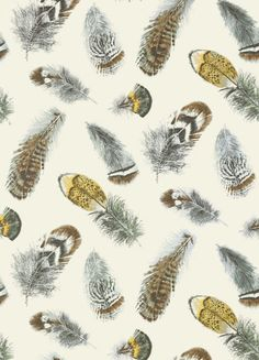 Birding Wallpaper A playful pattern of bird feathers, shown in charcoal, aqua and yellow, enhanced with subtle metallic accents on a cream ground.