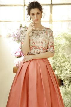Silk Georgette top with sequin and bead embroidery with silk ball gown skirt