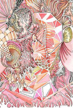 """Rot"" Fineliner, Aquarell on paper | Angelika Arendt"