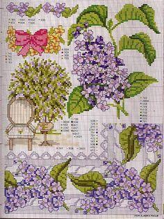 Punto croce - Schemi e Ricami gratuiti: Piante, foglie e fiori a punto croce