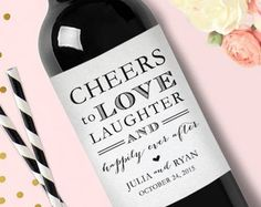 Mini Wine Labels Wedding Favors//Thank you by shopwdd on Etsy