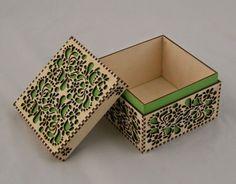 Above is a laser cut wood box from Cedar Street Design