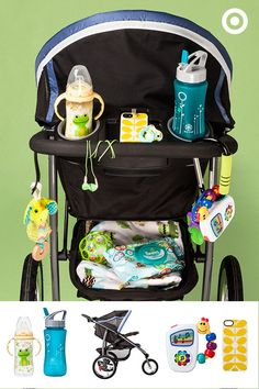 Get in a workout while you stroll in style with the Graco FastAction Fold Click Connect Jogger. The NUK Learner sippy cup and Gaiam flip-top water bottle will keep you both hydrated, while the tethered toys and Baby Einstein Take Along Tunes will keep Baby entertained.
