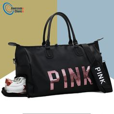03a41bcd55 Female Fitness PINK Gym Bag Shoes Ladies Nylon Large Training Shoulder Yoga  duffel Pink Women Outdoor travel sac de sport bags