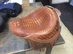 Alligator seat motorcycle seat Harley-Davidson cycle custom exoitc skin exotic leather high end upholstery customs by vos dave vos
