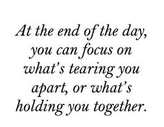 At the end of the day..