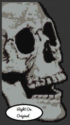 Skull Profile Halloween Cross Stitch by RightOnArtCollective - $6