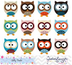Silly Owl Clipart, owl clip art, for commercial use, personal use, invites, card making, scrapbooking