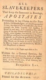 Primary Sources from the 1700's addressing the question Is Slavery Christian?