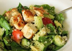 Chicken Quinoa Salad- chicken, quinoa, spinach, tomato, cucumber, avocado, shallots, garlic, lemon, olive oil, sea salt