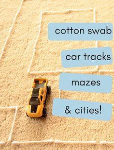 The Practical Mom: Cotton Swab Car Tracks, Mazes & Cities (Practical Mondays #17)