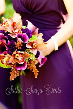 Vibrant Bridesmaid bouquet with chocolate cymbidium orchids, amaranth, hydrangea, calla lily and dark purple carnations. Image by @Damion . . . Hamilton Photography