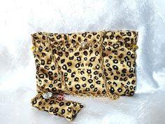 Bolsa de festa onça dourada em cetim ~ Arte, Moda e Criações!!