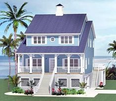 Beach cottage 46232LA complete with screened porch off second floor master.