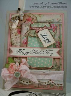 Shabby chic mason jar roses mother's day card