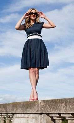cute navy dress.