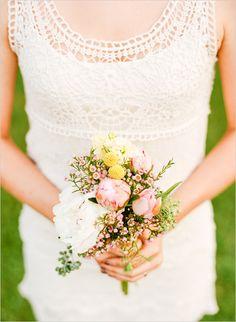 crotchet bridesmaid dress and petite bouquet