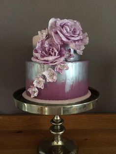 Wafer paper flowers - Purple, silver cake and wafer paper flowers
