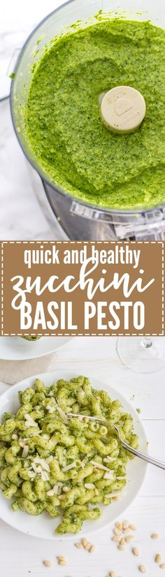 Quick, healthy zucchini basil pesto | A simple recipe for extra zucchini with spinach, parmesan and pine nuts. Toss with pasta for a fast, fresh vegetarian dinner.
