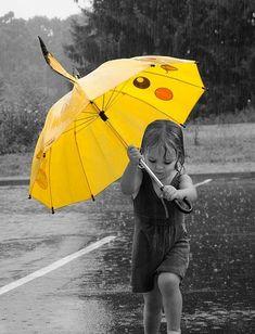 cute, little girl, pikachu, rain, umbrella