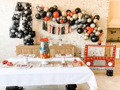 DIY Firetruck Balloon Garland DIY Red Black Gray Balloon   Etsy Fire Balloon, Balloon Arch, Balloon Garland, Balloons, First Birthday Parties, Birthday Party Decorations, First Birthdays, Birthday Ideas, 4th Birthday