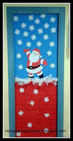 Kindergarten of the Five: door decoration ! - New Deko Sites Christmas Door Decorating Contest, Office Christmas Decorations, Christmas Crafts For Kids, Xmas Crafts, Christmas Art, Christmas Projects, Christmas Classroom Door, Theme Noel, Kindergarten