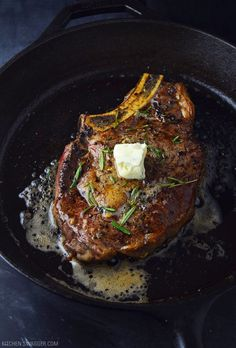 Pan-seared ribeye steak with blue cheese butter recipe. Ribeye seared in a cast iron skillet and topped with a blue cheese compound butter. Steak Recipes Pan, Grilling Recipes, Meat Recipes, Cooking Recipes, Game Recipes, Skillet Recipes, Cooking Tools, Delicious Recipes, Pfannengebratenes Steak