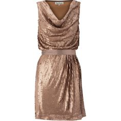 Sequin Dress ($60) ❤ liked on Polyvore featuring dresses, vestidos, women, bow dress, cowl neck dress, slip dress, brown slip dress and stretchy dresses