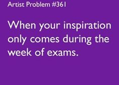 Or nights before chemistry tests