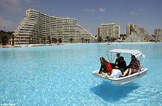 World's largest swimming pool, Algarrobo, Chile. 20 acres wide, 115 feet deep