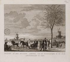 Gezicht op den Buiten Amstel van de Weesperzijde op de stad Amsterdam te zien.