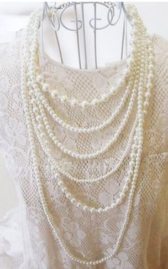 Long 6 Row White Faux Pearls