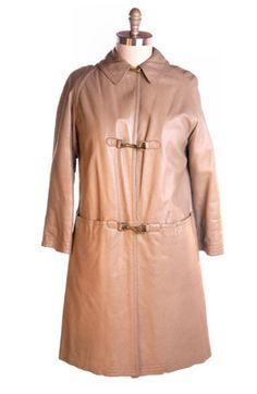 Vintage Leather Coat Bonnie Cashin Sills Snap Hook Front 1970s