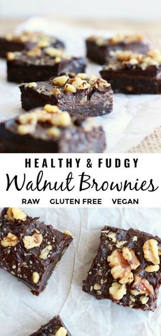 This delicious and easy to make homemade walnut brownie recipe is fudgy naturally sweet with no refined sugar and no oil. You don't even have to turn on the oven as they are no bake too and of course healthy gluten free and vegan! Cake Vegan, Raw Vegan Desserts, Raw Vegan Recipes, Easy Cake Recipes, Vegan Sweets, Healthy Dessert Recipes, Healthy Baking, Gourmet Recipes, Baking Recipes