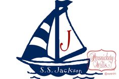 Items similar to Sailboat with personalized name cutout and monogram letter vinyl decal wall sticker (Choose Two Colors) on Etsy Sailboat, Sailing, Nursery, Craft Ideas, Boys, Unique Jewelry, Handmade Gifts, Crafts, Vintage