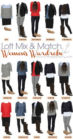 Loft Mix and Match outfits. Perfect for winter or fall. 15outfits that look great and are easy to pack.