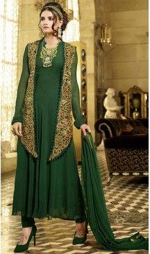 3e8104d1ba Mehendi Green Color Georgette Party Wear Style Gown Dresses ...