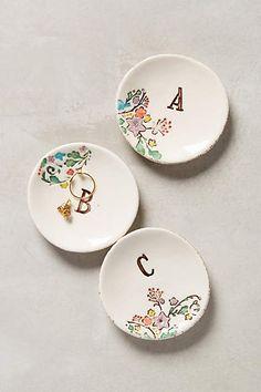 Monogrammed Garland Ring Dish - anthropologie.com