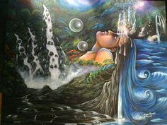 "Lukisan acrylic on kanvas 120 x 150 cm ""MENYATU DENGAN ALAM bag 1"" Dibuat bulan Februari 2015"
