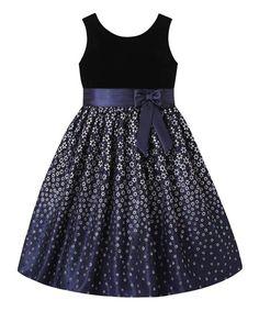 American Princess Navy & Black Floral A-Line Dress - Infant, Toddler & Girls | zulily