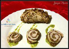 INVOLTINI DI POLLO E PISTACCHI Ricetta di: IGNAZIA MASCIA Ingredienti: per 4 persone 8 fette di petto di pollo 8 fettine di prosciutto cotto Pistacchi tritati quanto basta Olio evo sale Per il Pesto alle zucchine e pistacchi 1 zucchina 10 g parmigiano grattugiato 10 g pistacchi tritati (ho scelto quelli più verdi) 4 g…