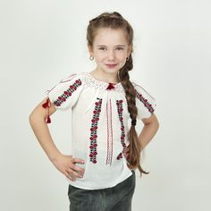 O frumoasa ie pentru fetite model Ciresica din panza topita alba brodata manual . A beautiful outfit for little girls model Ciresica in white melted canvas embroidered manually with red and black. Little Boys Suits, Birthday Traditions, Little Girl Models, Wine Dress, Girls Dresses, Flower Girl Dresses, Types Of Shirts, Shirt Types, Baby Costumes