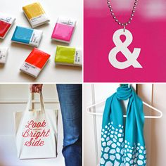 Color Beauty: Pantone chip magnets, Ampersand shrink plastic necklace, Iron-on tote bag downloadable design, Freezer paper painted scarf