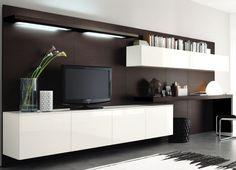 wohnwand mit schreibtisch fernseher-schublaeden-beige-akzent, Wohnzimmer
