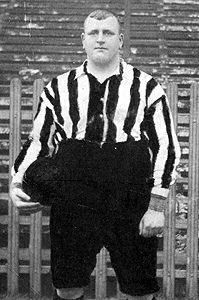 """The infamous William """"Fatty"""" Foulke, a goalkeeper said to weigh over 20 stone by the end of his career. Always a """"big lad"""", at 6ft 4in, a giant for his era, the somewhat slimmer version helped United win their only league title (1898) and reach 3 FA Cup Finals, winning 2. He also made an appearance for England."""