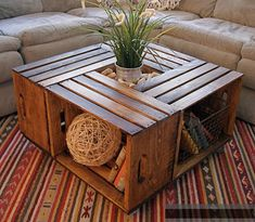 Making a coffee table out of crates - I Like to Decorate
