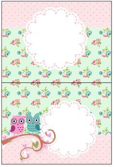 Cartão Agradecimento de Mesa Corujinha Vintage Rosa e Verde